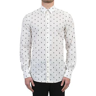 Dolce E Gabbana men's G5DY4TFS52RHW613 white/black cotton shirt