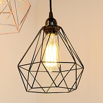 Industrial Cage Pendant Light - Black