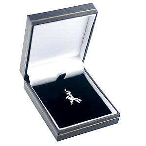 Silver 20x14mm Boxer dog Charm on a lobster trigger