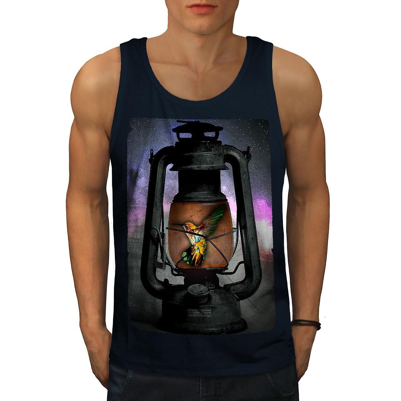 Hummingbird Lantern Men Navy Tank Top | Wellcoda
