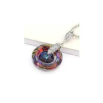 Circle and ornate heart of Crystal in Swarovski Rainbow sky and blue pendant