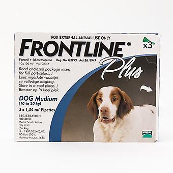 Frontline Plus Medium Dogs 23-44lbs(10-20kg), 3 Pack