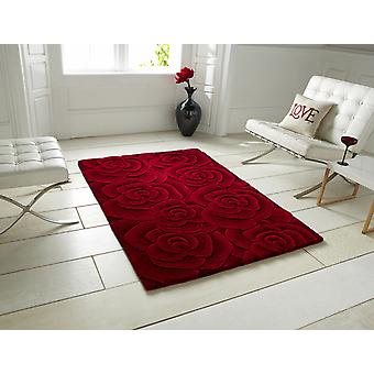 Valentine VL 10 Red Self coloured rose design in shades of red Rectangle Rugs Modern Rugs