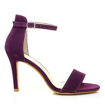 PAM Purple Suede Ankle Strap Barely There High Heel Sandals
