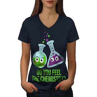 Feel The Chemistry Women NavyV-Neck T-shirt | Wellcoda