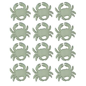 Distressed White Cast Iron Coastal Crab Drawer Pull Set of 12