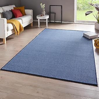 Feinschlingen Teppich Casual Blau Uni Meliert