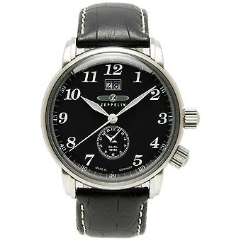 Zeppelin Count Dual Time Big Date Display Black Dial Black Leather 7644-2 Watch