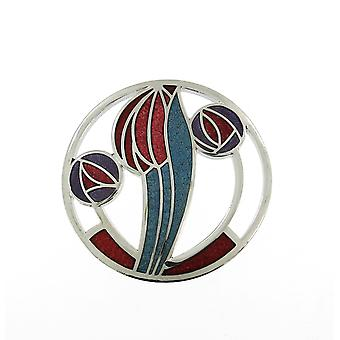 Enamelled Rhodium Plated Celtic Mackintosh Red Brooch