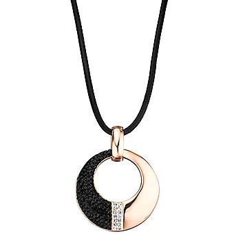fashionable pendant round stainless steel rose gold coloured PVD coating crystals