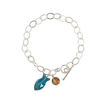 3 cm fish - Blue - Ladies - bracelet - 925 Silver-