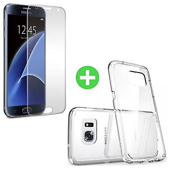 Stuff Certified ® Samsung Galaxy S7 Transparent TPU Case + Screen Protector Tempered Glass