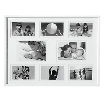 Collage - Wall Mounted Foto Frame - met acht openingen - wit