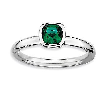 CR. smeraldo anello - anello Dimensione taglio argento lunetta lucidato placcato in rodio impilabile espressioni cuscino: 5-10