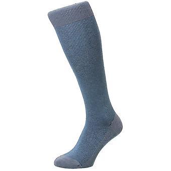 Pantherella Tewkesbury Birdseye Cotton Lisle Over the Calf Socks - Light Denim Mix