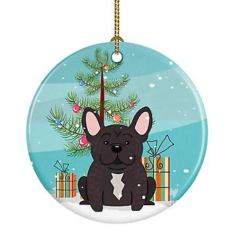 Merry Christmas Tree fransk Bulldog Brindle keramiske Ornament