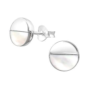 Round - 925 Sterling Silver Plain Ear Studs - W36688X