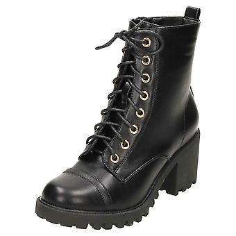 Koi Footwear Chunky Heel Gothic Military Ankle Lace Up Boots