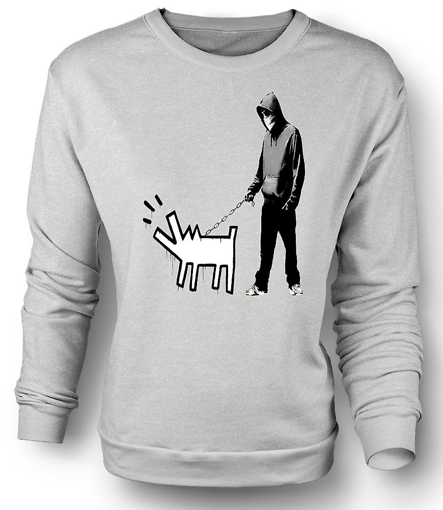 Mens Sweatshirt Banksy Walking hunden