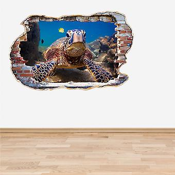 Full Colour Hawaiian Green Sea Turtle Smashed Wall 3D Effect Wall Sticker