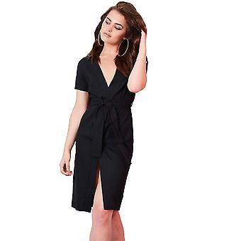 Lovemystyle Black Midi Wrap Dress With Tie Waist Belt