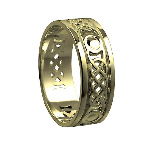 18ct Gold 8mm pierced Celtic Wedding Ring Size Y