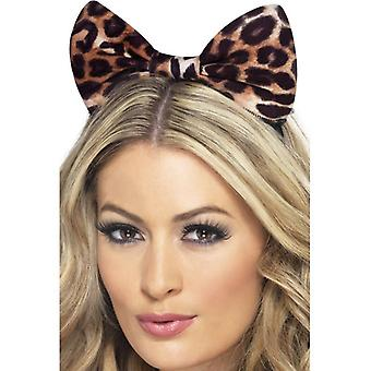 Womens Cheetah Schleifchen Stirnband Fancy Dress Zubehör