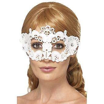 Womens wit geborduurd Lace filigraan bloemen Eyemask Fancy Dress accessoire
