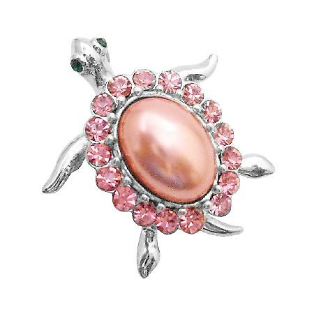Adorable Turtle Brooches Pin Silver Casting Flat Pink Body & Crystals