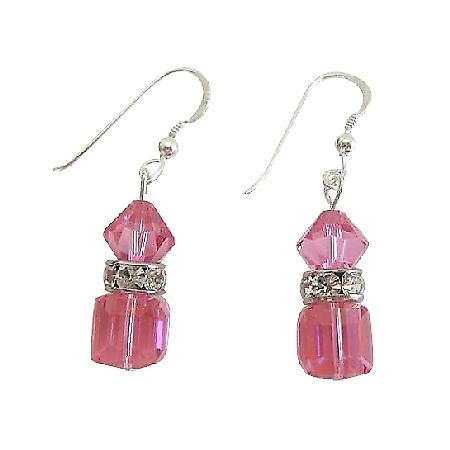 Handmade Swarovski AB Rose Crystal Cube & Bicone Crystal Earrings