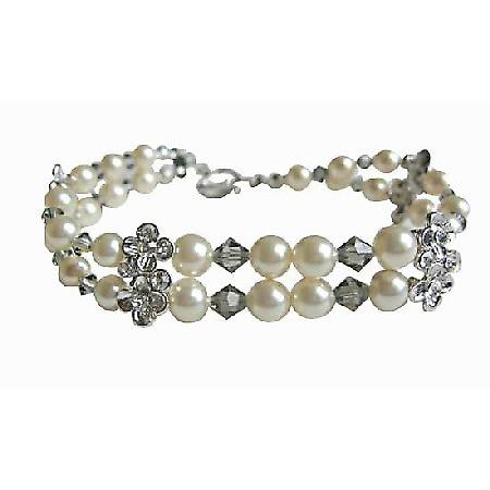 Black Diamond Crystals Swarovski Cream Pearls Double Stranded Bracelet