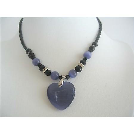 Amethyst Heart Cat Eye Heart Pendant Black Beaded Choker Necklace