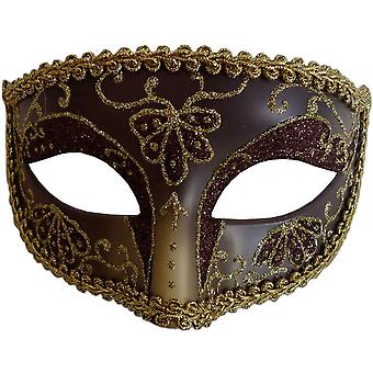 Opera Eye Mask Burgundy Gold For Masquerade