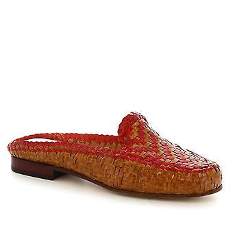 Leonardo skor handgjorda mulor damskor i tan/röd vävd kalvskinn