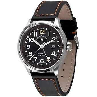 Zeno-watch mens watch retro Tre pilot (dual time) 6302GMT-a1