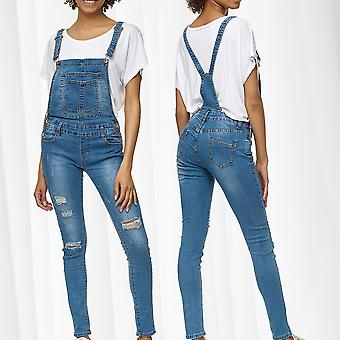 Womens Dungarees Jeans Pants Stretch Skinny Tube Treggings Waistband Suspenders