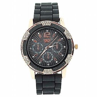 Golddigga Ladies Rose Gold Crystal Black Silicone Strap Fashion Watch DIG68D