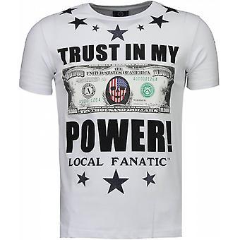 Lita på min Power-rhinestone T-shirt-vit