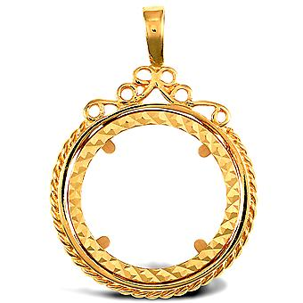 Jewelco London Solid 9ct Yellow Gold Rope Edge Scroll Top Full Sovereign Coin Mount Pendant