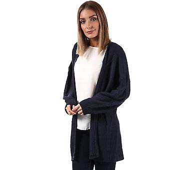 Womens Brave Soul Cable Knit Open Cardigan In Navy