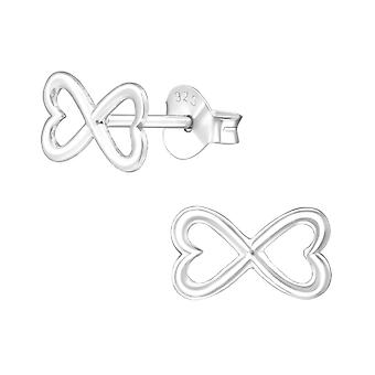 Bow - 925 Sterling Silver Plain Ear Studs - W38575X