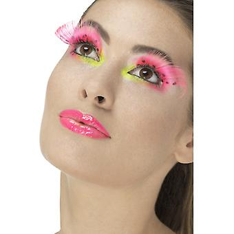 Smiffys 80S Polka Dot Eyelashes Neon Pink Contains Glue (Babies and Children , Costumes)