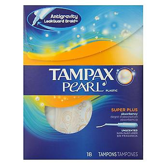 Tampax pearl tampons, super plus, unscented, 18 ea