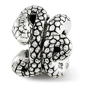 925 Sterling Silver Polished Antique finish Reflections Snake Bead Charm