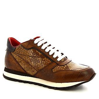 Leonardo Shoes Men's handmade laced shoes brandy calf leather crocodile print