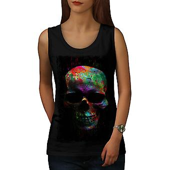 Wellcoda | Verf Skull Mask Art Womens Zwart Tank Top