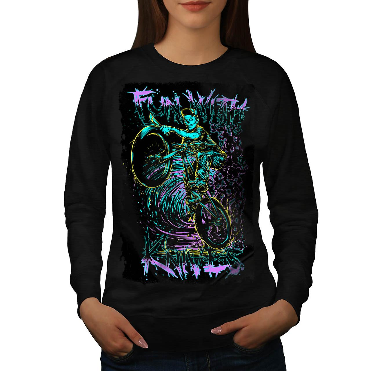 Fun With Knives Rider Zombie Bike Women Black Sweatshirt | Wellcoda