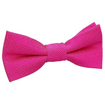 Fuchsia Pink Solid Check Pre-Tied Bow Tie for Boys
