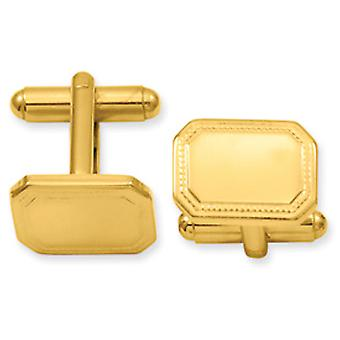 Gold-plated Polished Rectangle Cuff Links