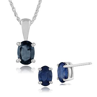 Gemondo 9ct White Gold Blue Sapphire Oval Stud Earrings & 45cm Necklace Set